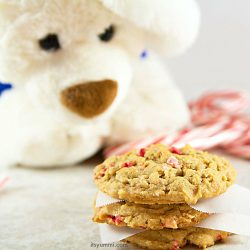 Cookie Butter Peppermint Chip Cookies - my favorite chewy, sweet cookie. Kids AND adults love 'em!