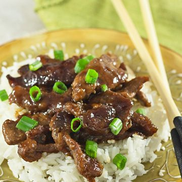 plate of copycat pf changs Mongolian beef