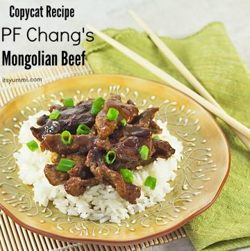 titled image - dinner plate of Mongolian Beef made to taste like it came from PF Chang's restaurant