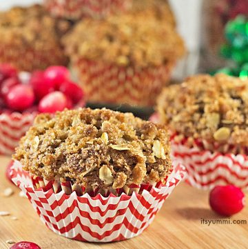bakery style cranberry muffins with streusel topping