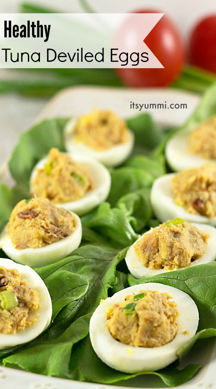 Healthy Tuna Deviled Eggs Recipe - This easy tuna fish recipe is PALEO and low in saturated fat! Perfect as an appetizer or for a healthy snack
