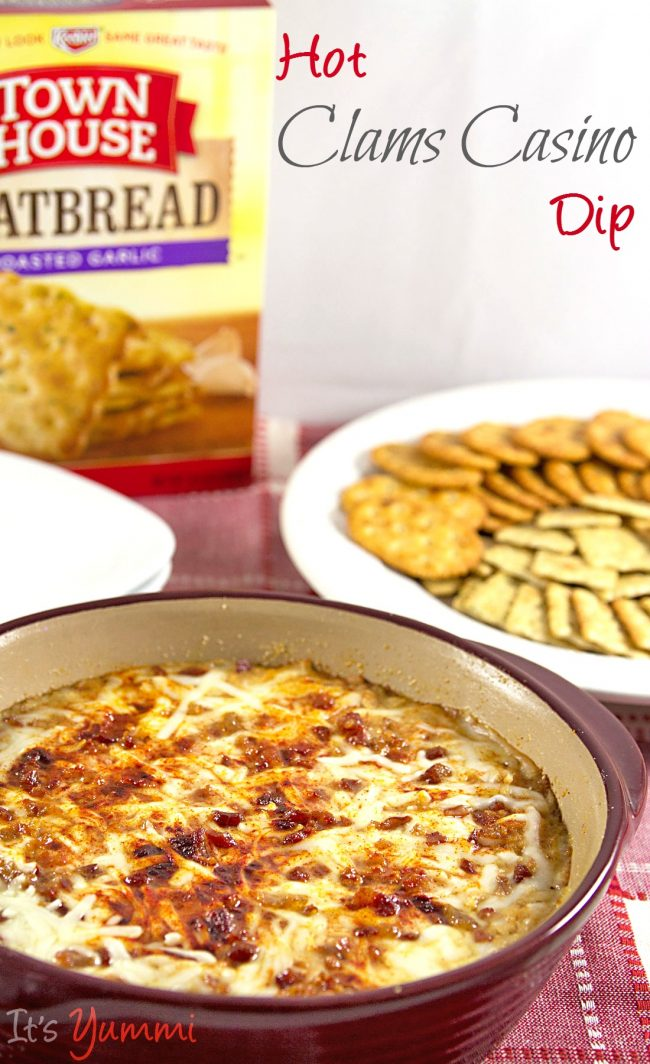baking dish of hot clam dip with bacon