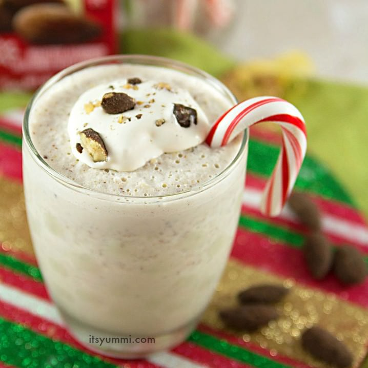 Cool down from the heat or celebrate the holidays with creamy, cold peppermint cocoa almond milkshakes! Just 5 ingredients and 5 minutes! Here's the recipe!