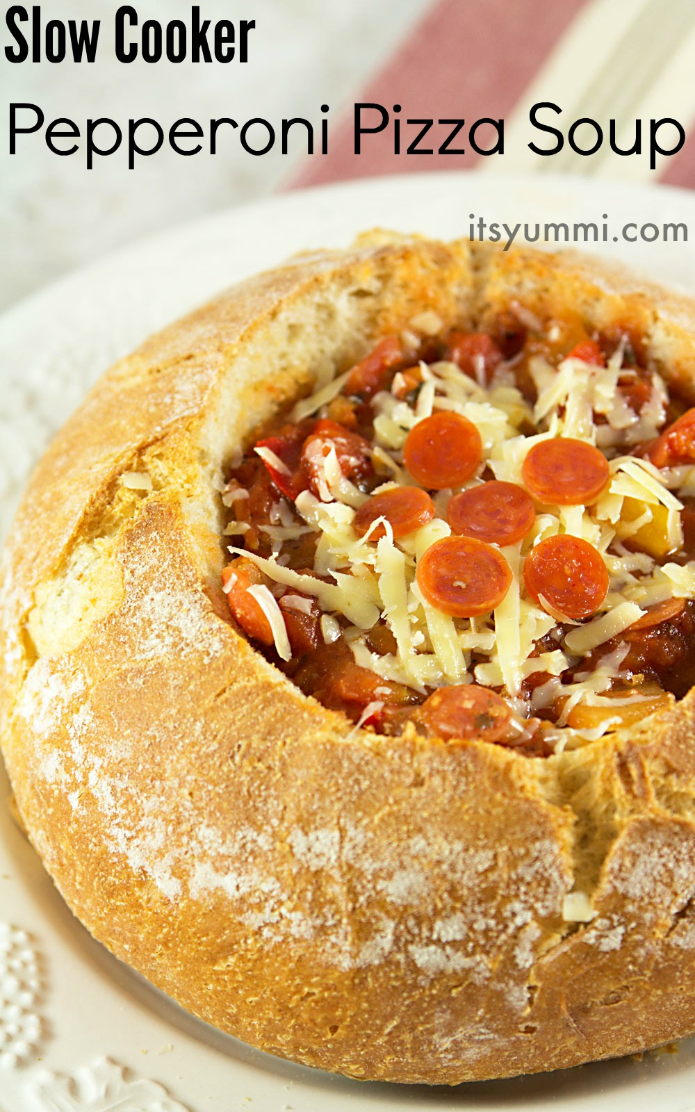 Slow Cooker Pizza Soup Recipe - from ItsYummi.com