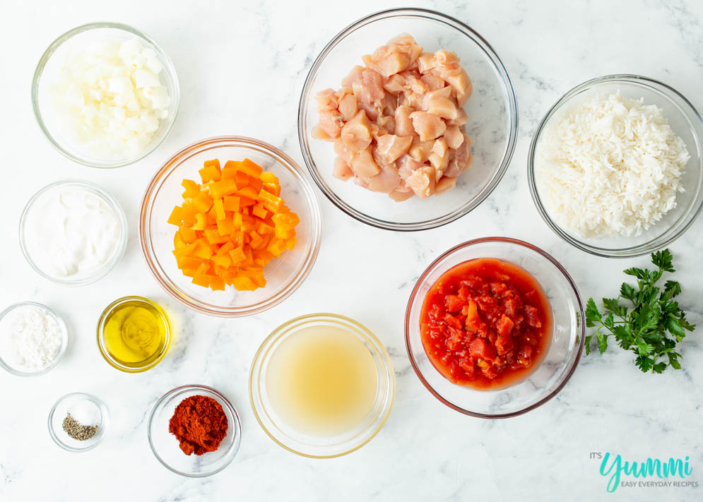 Overhead shot of ingredients needed for the Chicken Paprikash Recipe