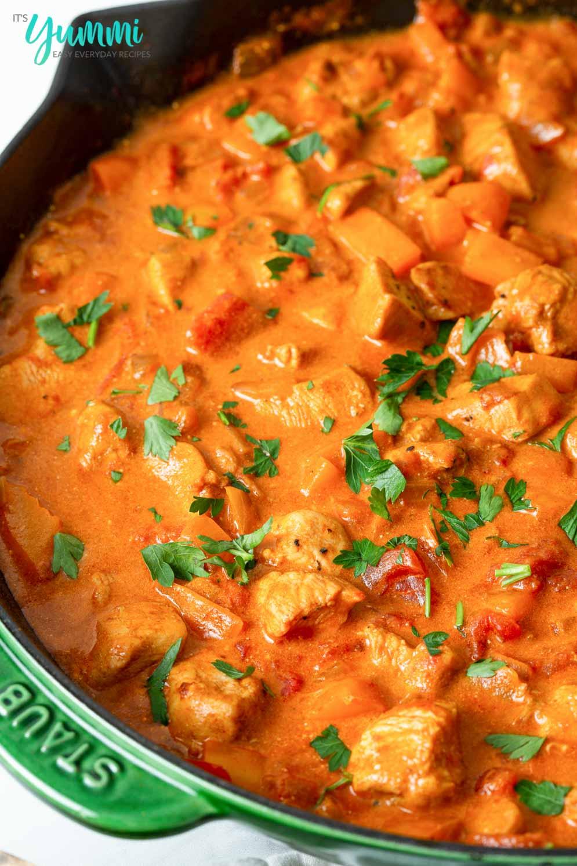 Chicken Paprikash Dinner in green cast iron pan
