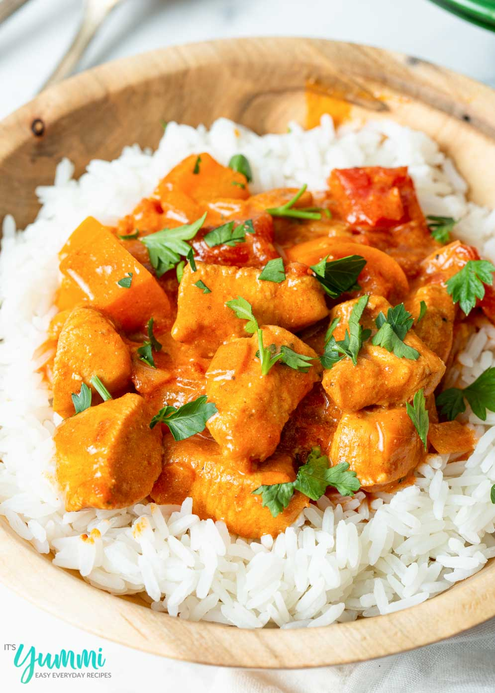 Chicken Paprikash served over a bowl of white rice