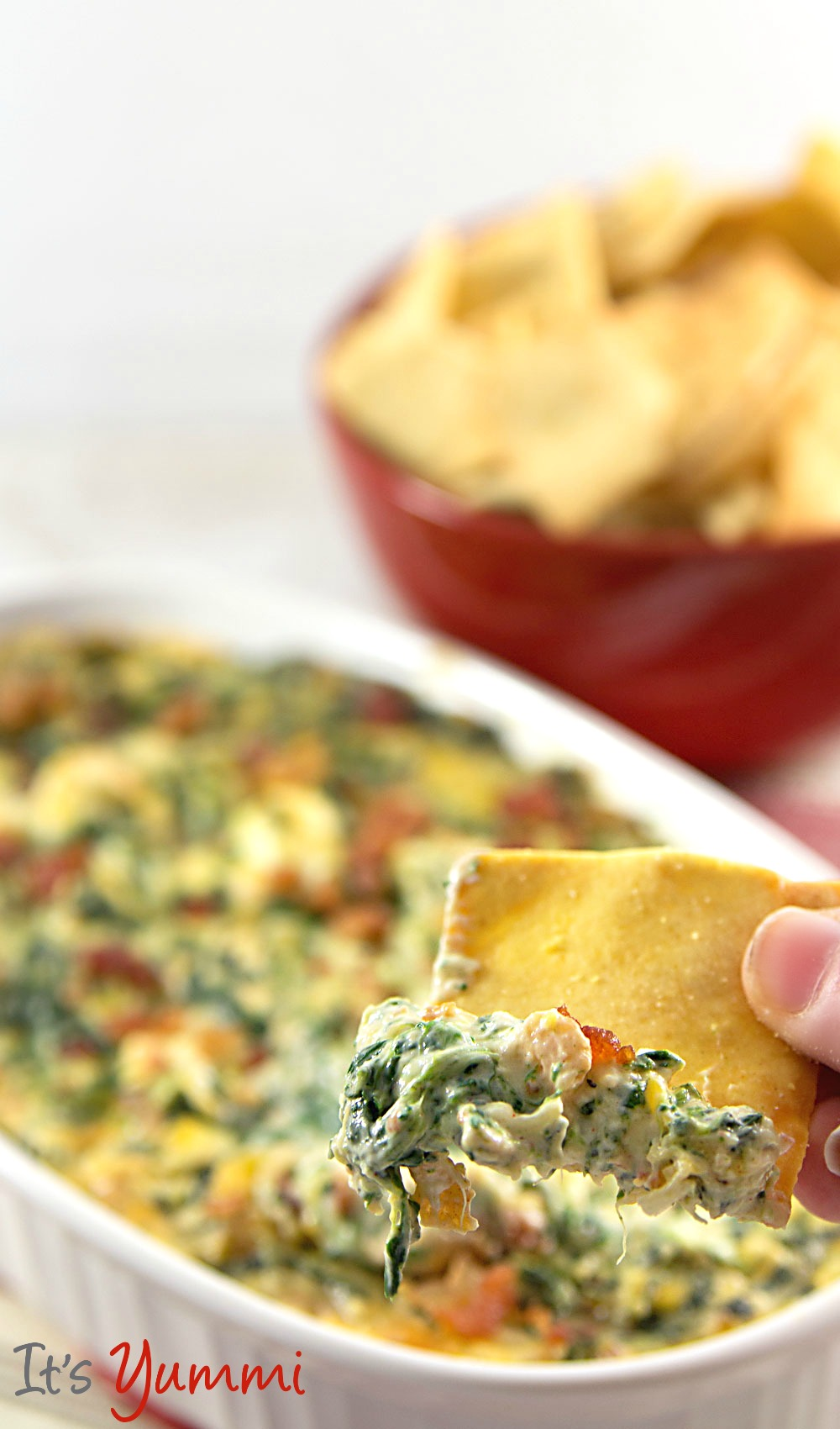 Hot 'n Cheesy Spinach Dip with Bacon Recipe ~ ItsYummi.com