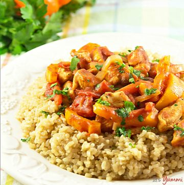 Chicken Paprikash served over a bed of brown rice