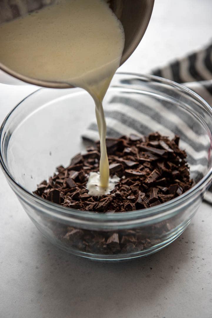 making chocolate ganache with milk
