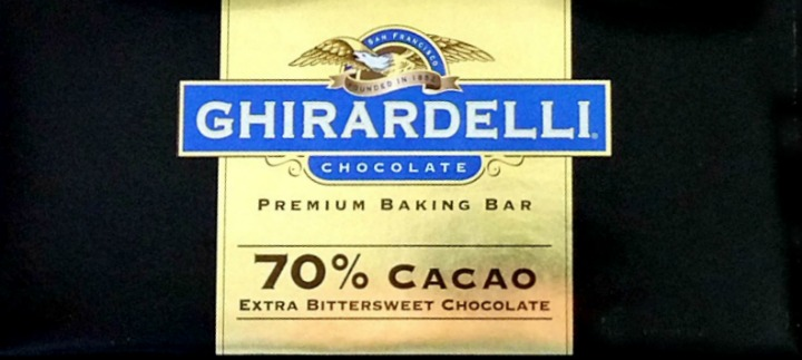 bar of Ghirardelli extra bittersweet chocolate