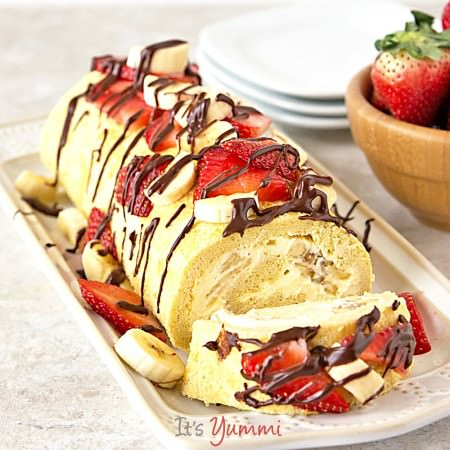 Lightened Up Banana Split Cake Roll