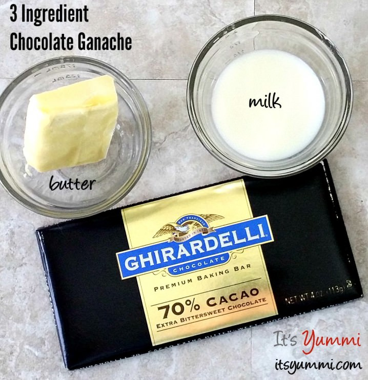 the 3 ingredients needed to make chocolate ganache without heavy cream: milk, butter, and chocolate
