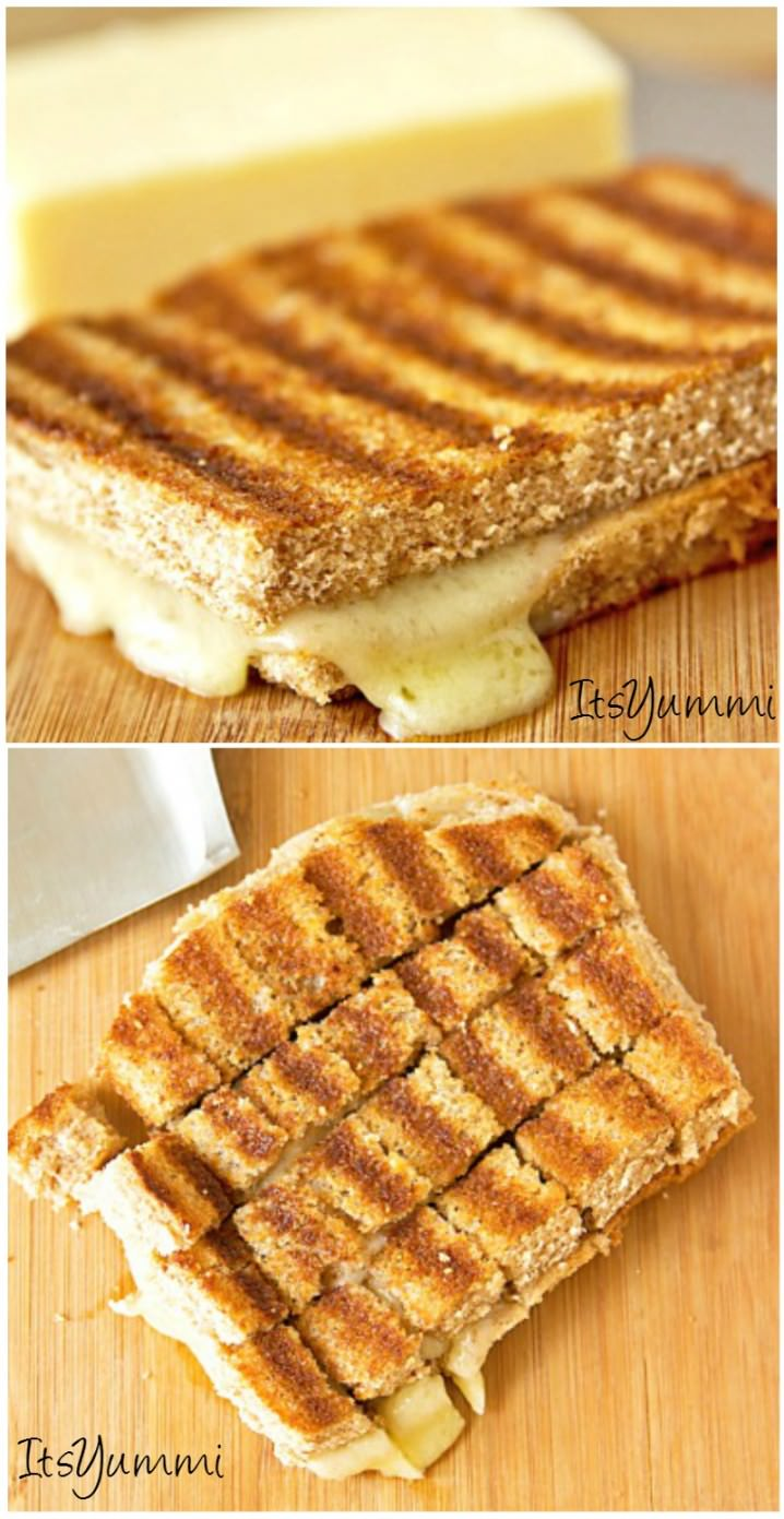 Grilled cheese sandwich cut into squares to make Grilled Cheese Croutons for soup