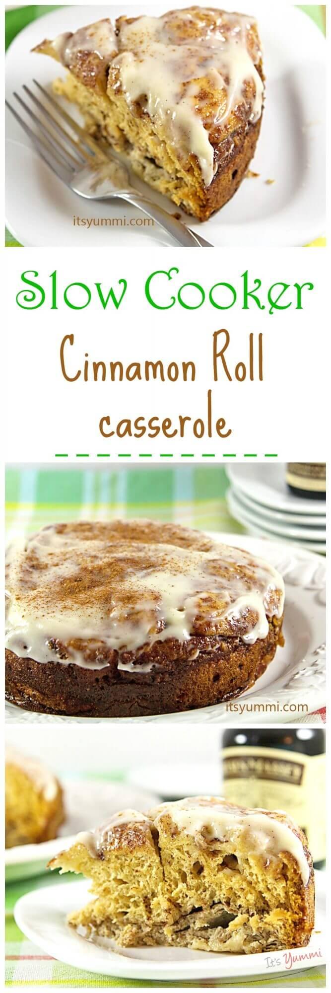 Easy Slow Cooker Cinnamon Roll Casserole recipe, from @itsyummi