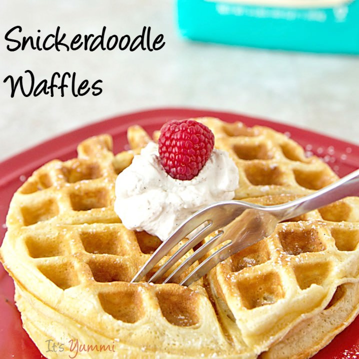 If you enjoy snickerdoodle cookies, you'll love this snickerdoodle waffles recipe! It's another one of those easy waffles recipe ideas that can be made quickly for a weekend breakfast or brunch! #vanillaweek