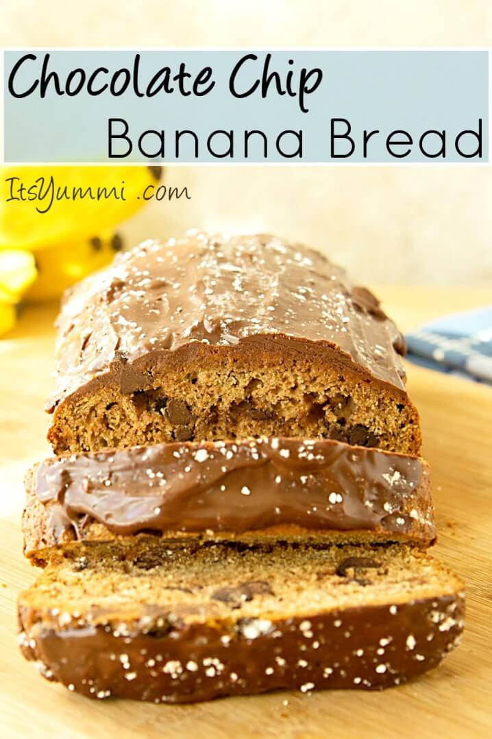 chocolate chip banana bread recipe with a layer of chocolate ganache on top. This is a banana bread lover's snack!