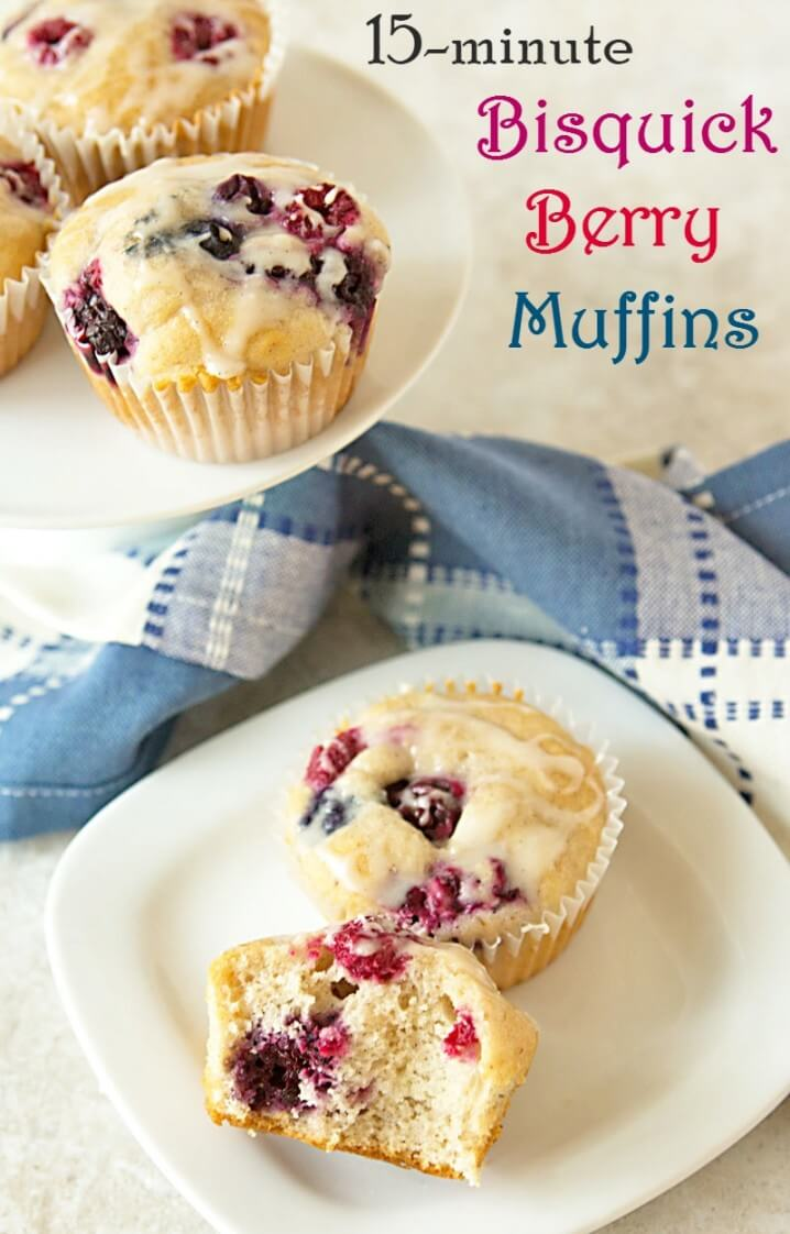 This recipe for triple berry muffins takes just 15 minutes to make. Use frozen fruit instead of fresh and they come out SO moist! From ItsYummi.com