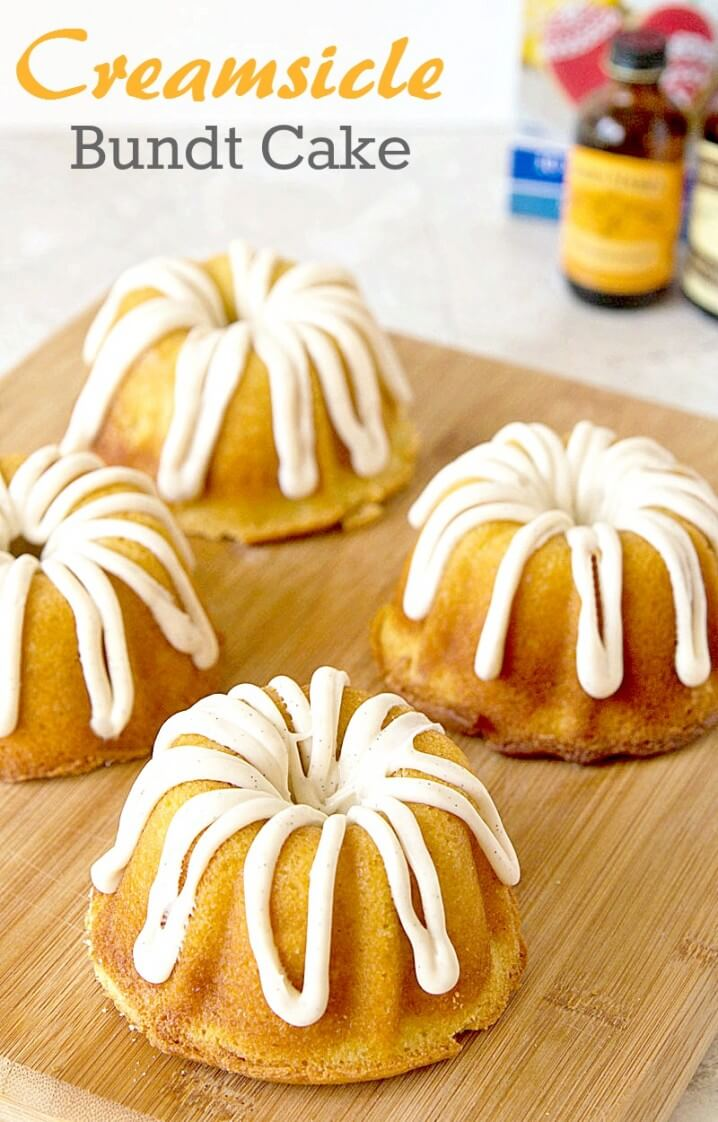 Creamsicle Bundt Cake - This pound cake recipe is inspired from the orange and vanilla flavors of the frozen Creamsicle pops that I loved as a kid. - Get the recipe on ItsYummi.com @itsyummi