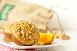 Recipe for Pancake Muffins with Brown Butter Glazed Walnuts - Fluffy pancakes with no flipping involved! Perfect for breakfast on the go, too. Recipe on ItsYummi.com for #brunchweek