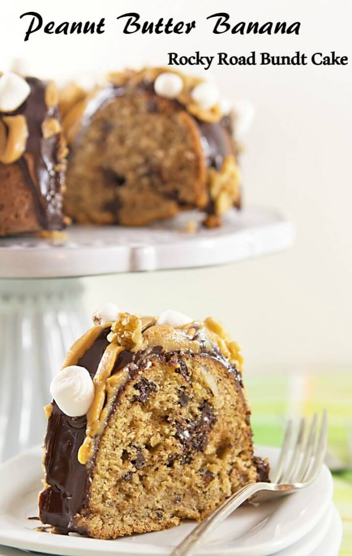 This Elvis on a Rocky Road bundt cake recipe will blow your mind! Peanut butter and bananas are combined with traditional rocky road flavors to create this delicious cake! #BundtBakers
