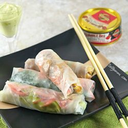 easy spring rolls recipe made with tuna fish and vegetables
