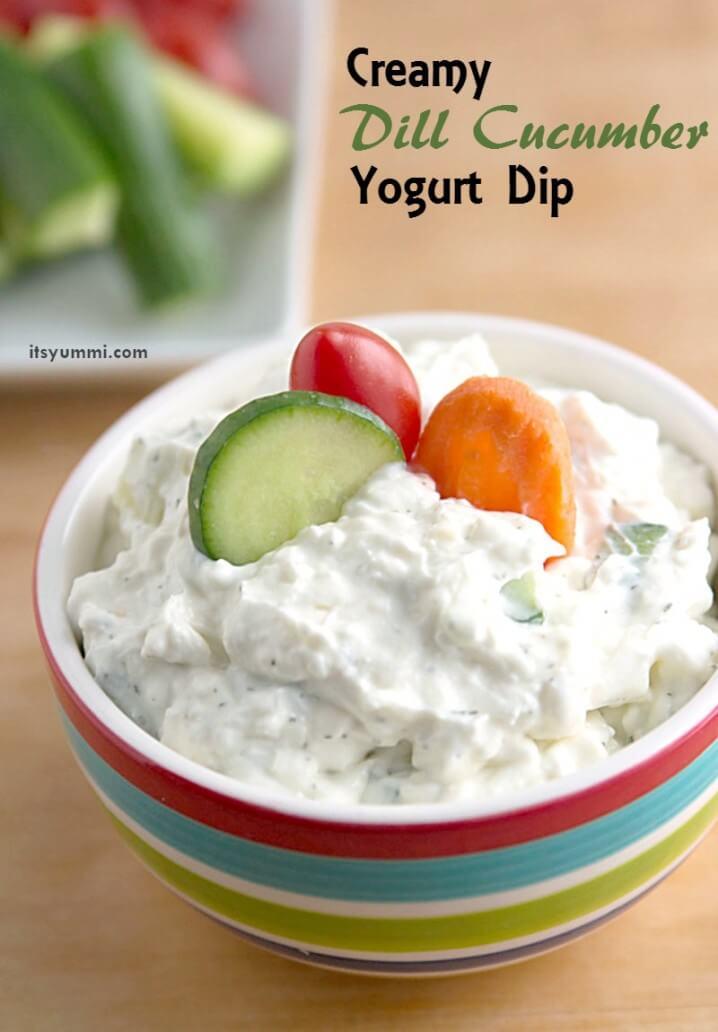 Creamy Dill Cucumber Yogurt Dip Recipe - A healthier game day snack ...