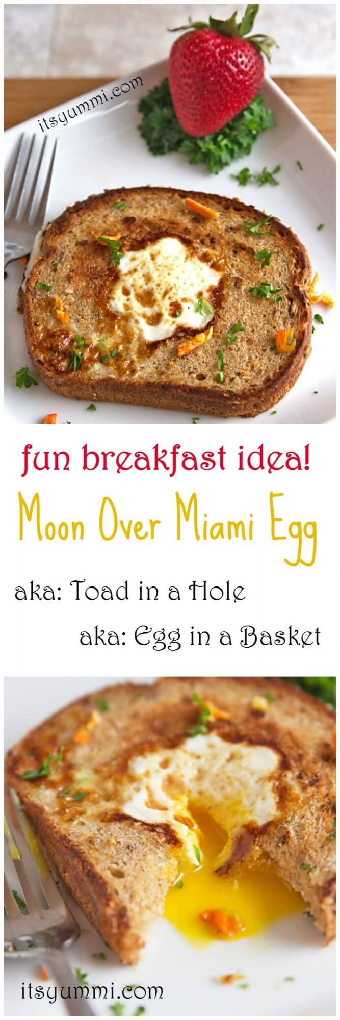 Moon Over Miami Egg - This is a classic fried egg breakfast! Also known as Toad in a Hole or Bird in a Nest, it's a cage-free egg that's cooked inside of whole grain, Harvest Selects Seeded Bread from @PepperidgeFarm - Get the recipe from @itsyummi (AD)