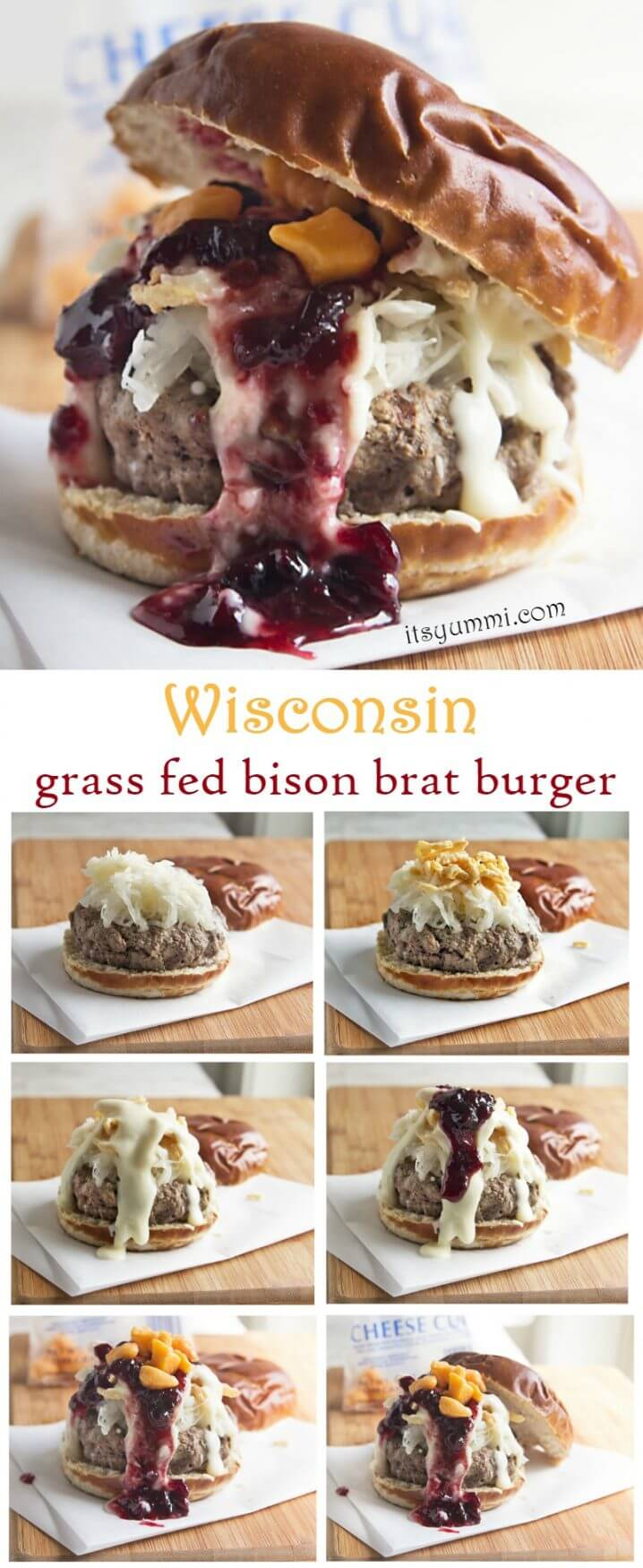 Wisconsin Grass Fed Bison Bratwurst Burger - made with fresh ingredients from Wisconsin! Door County cherry jam, homemade beer cheese sauce, and fresh, squeaky cheese curds. This is a BIG delicious burger! Recipe from @itsyummi