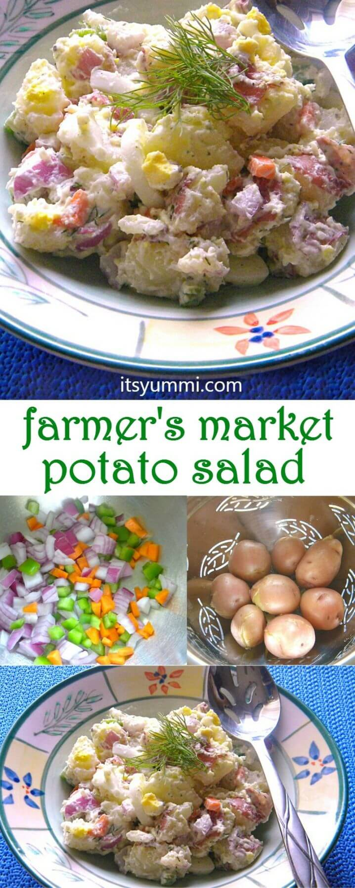 titled photo collage - farmer's market potato salad