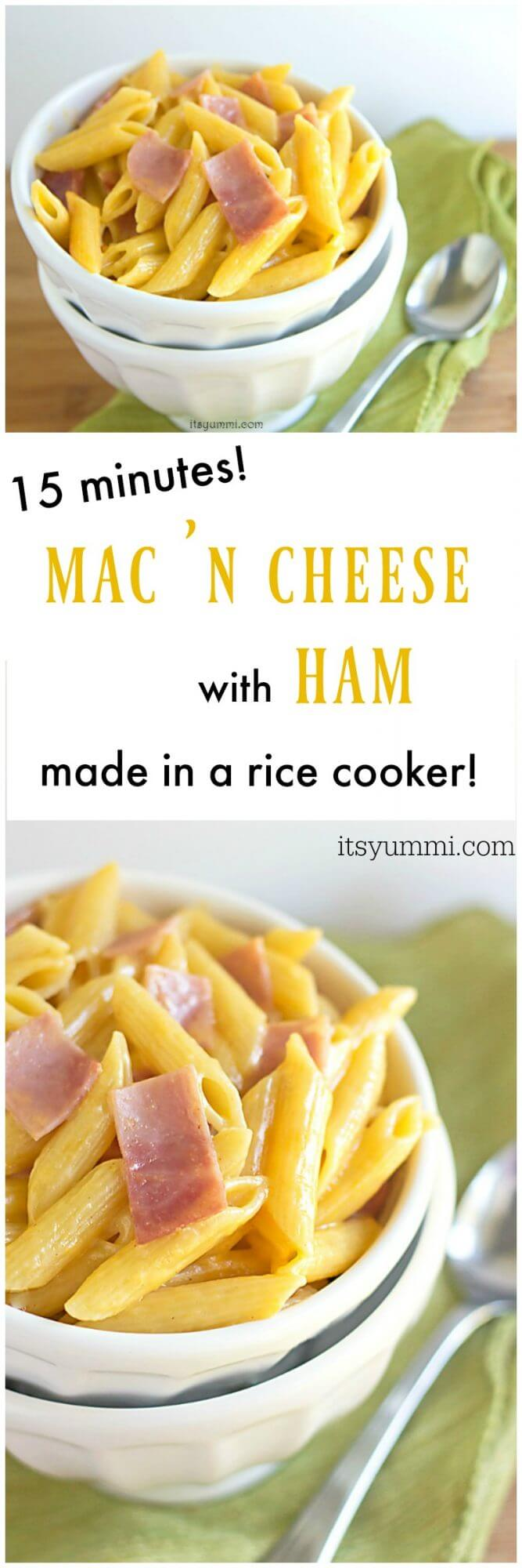 Rice Cooker Ham Macaroni and Cheese - This delicious comfort food dinner is made from start to finish in a @hamiltonbeach rice cooker, and it takes just 15 minutes! Get the recipe on itsyummi.com #hamiltonbeachricecooker (sponsored)