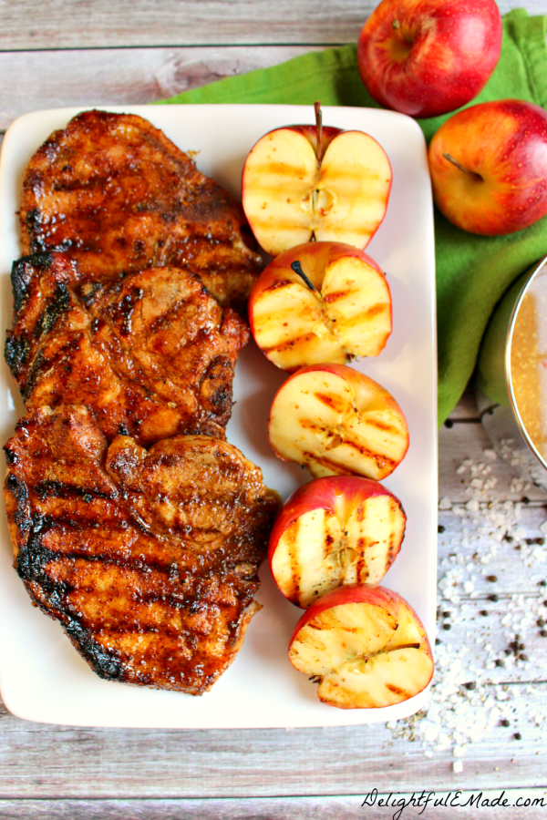 Apple Cider Glazed Pork Chops are the perfect recipe for Fall and National Apple Month! Recipe from Delightful E Made