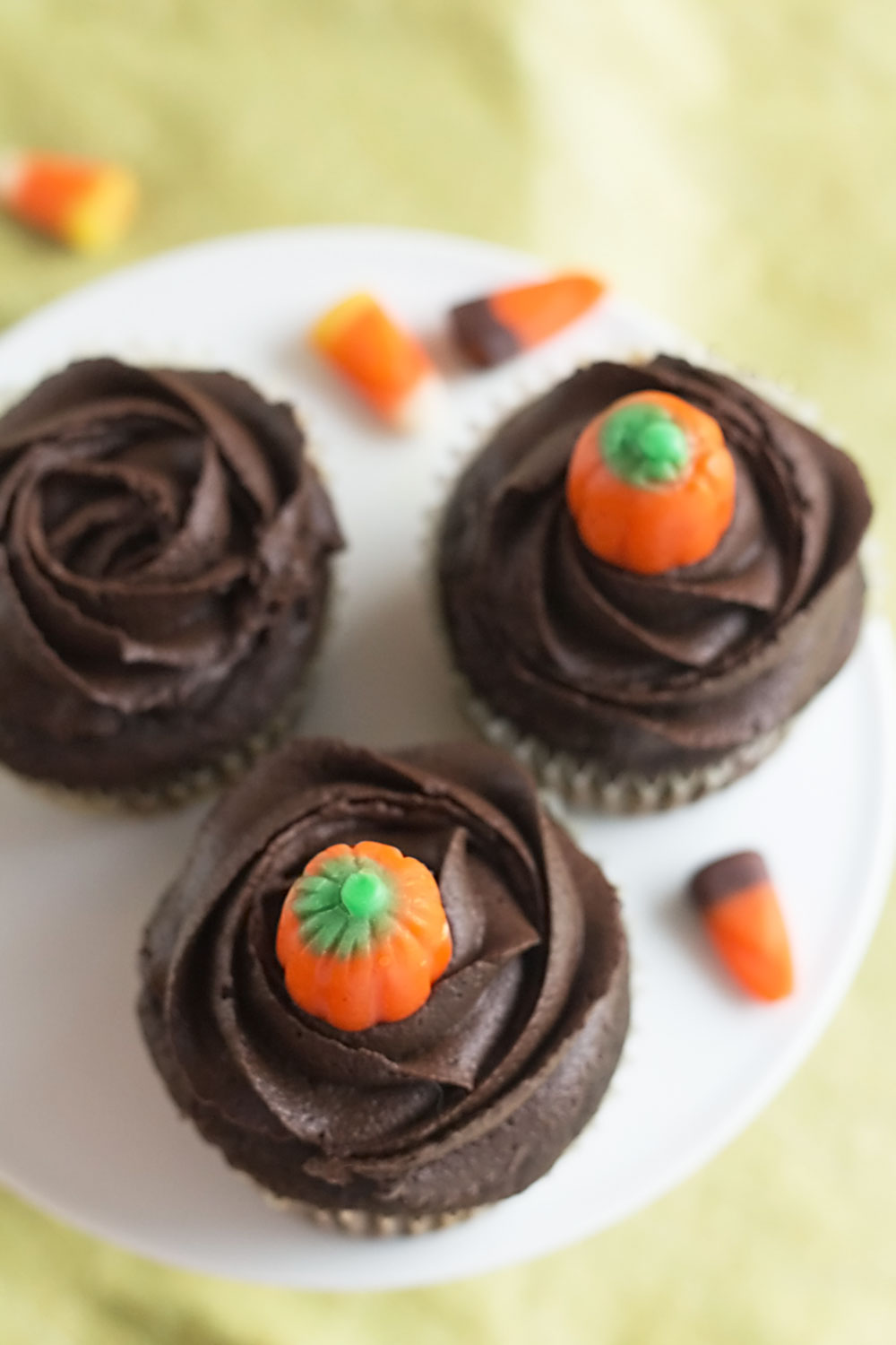 Pumpkin Chocolate Cupcakes, made from scratch! Rich chocolate cupcakes, made with real pumpkin puree, topped with whipped chocolate ganache frosting. Recipe on itsyummi.com