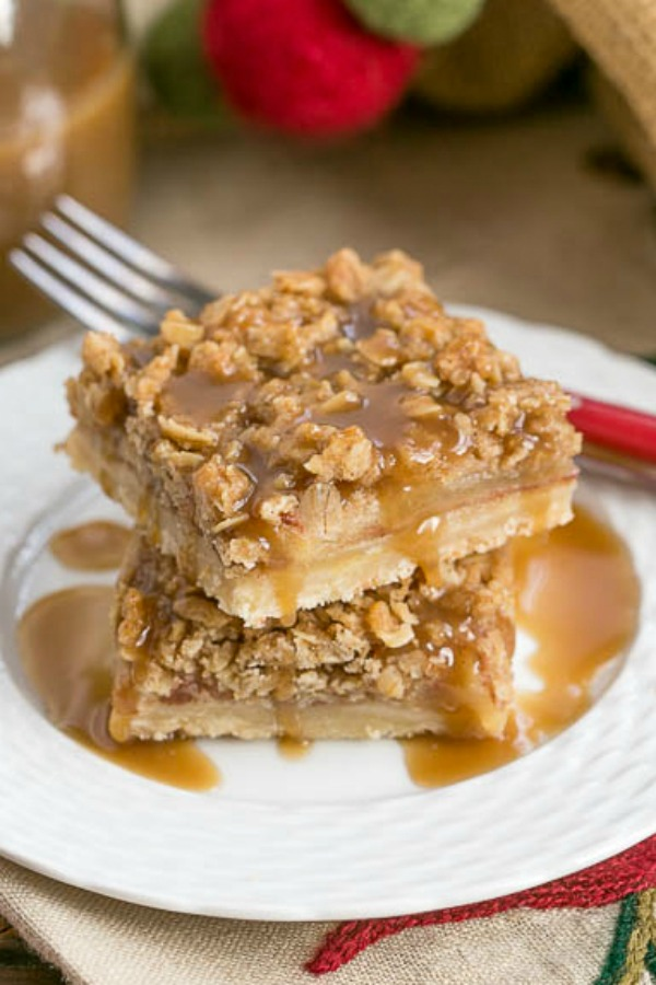 Salted Caramel Apple Streusel Bars, from That Skinny Chick Can Bake