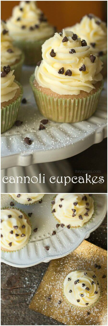 Cannoli cupcakes are inspired by the popular Italian dessert. Moist cinnamon cupcakes, topped with fluffy mascarpone buttercream and a sprinkling of chocolate chips and powdered sugar. Recipe on itsyummi.com