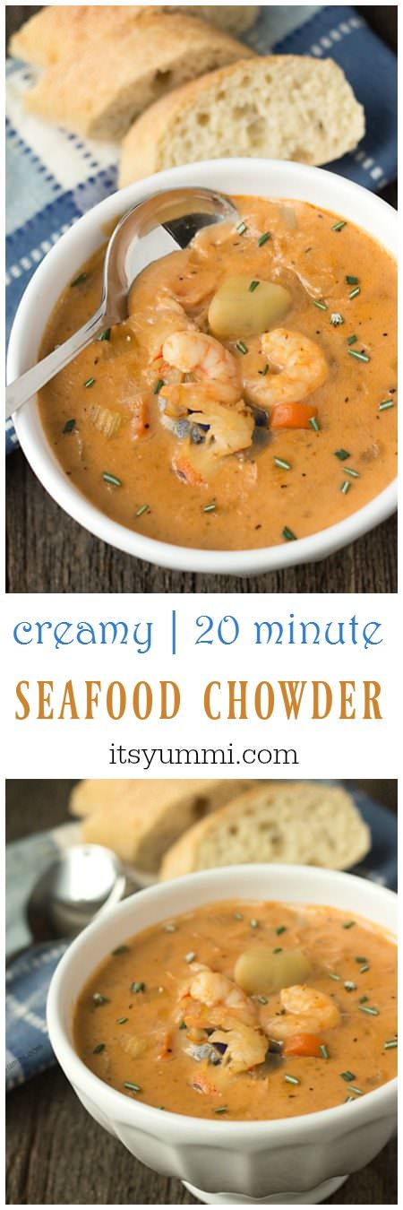 titled photo collage (and shown): Creamy 20-Minute Seafood Chowder