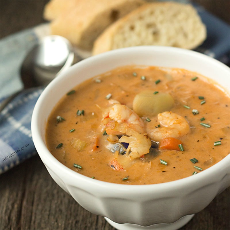 bowl of creamy seafood chowder made with homemade seafood stock