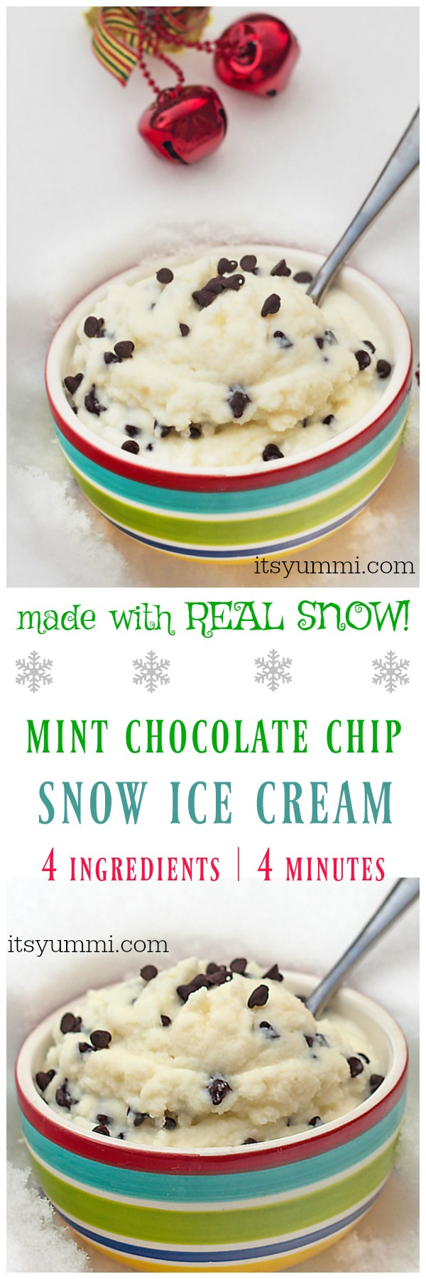 Snow cream (snow ice cream) is winter fun for kids! Mint chocolate chip snow cream is made with REAL SNOW, 4 ingredients, in only 4 minutes!