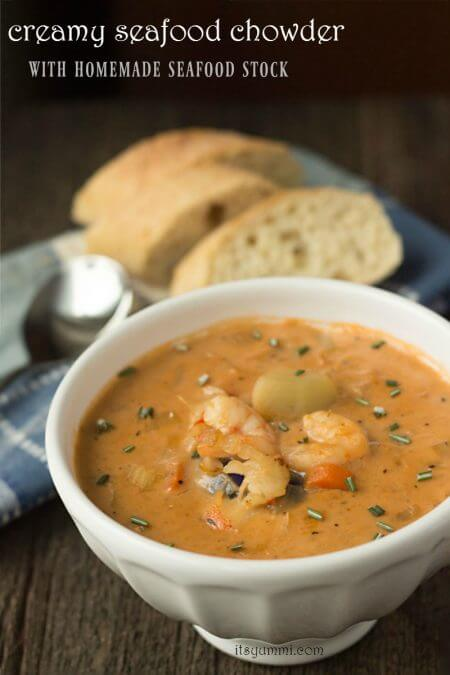 titled image (and shown): Creamy Seafood Chowder with Homemade Seafood Stock