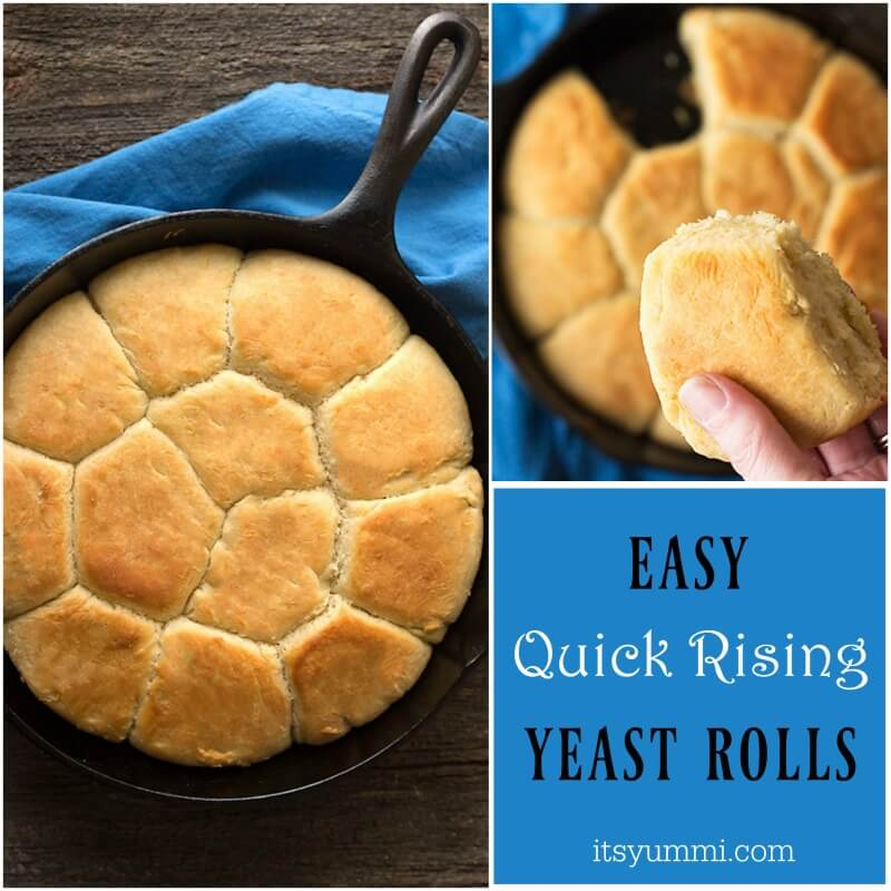 Quick rise easy yeast rolls are the perfect go-to dinner roll recipe! The recipe uses rapid rise yeast, so the rolls only have one 20 minute rise time! | ItsYummi.com | easy rolls | rapid rise | yeast rolls | dinner rolls