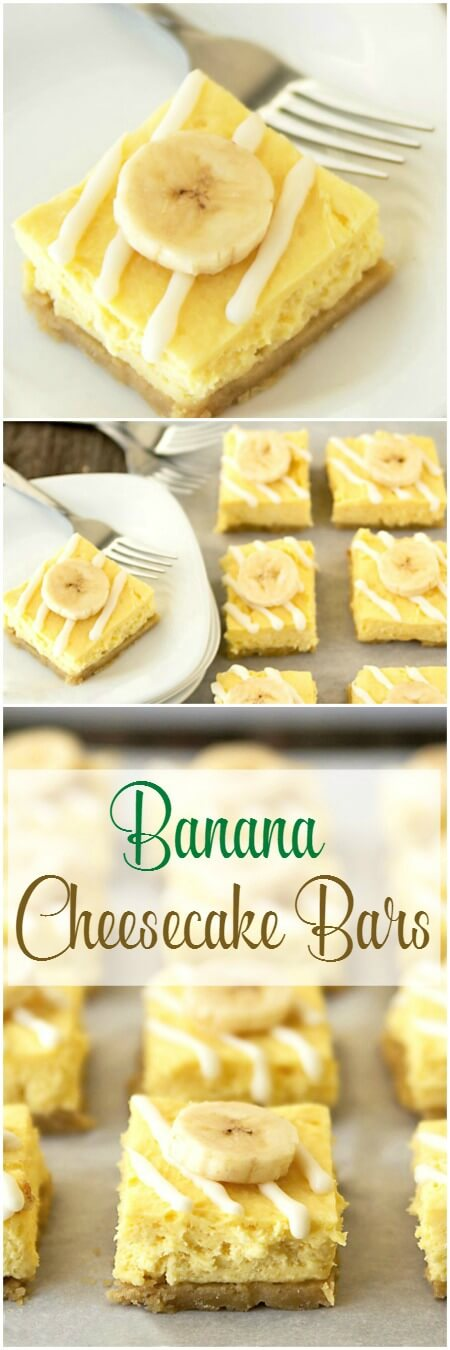banana cheesecake bars recipe pinterest collage