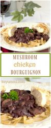 Mushroom Chicken Bourguignon | healthy dinner with sauteed chicken breast and red wine braised mushrooms | easy dinner recipe