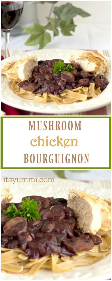 Mushroom Chicken Bourguignon Healthy Dinner With Sauteed Chicken Breast And Red Wine Braised Mushrooms