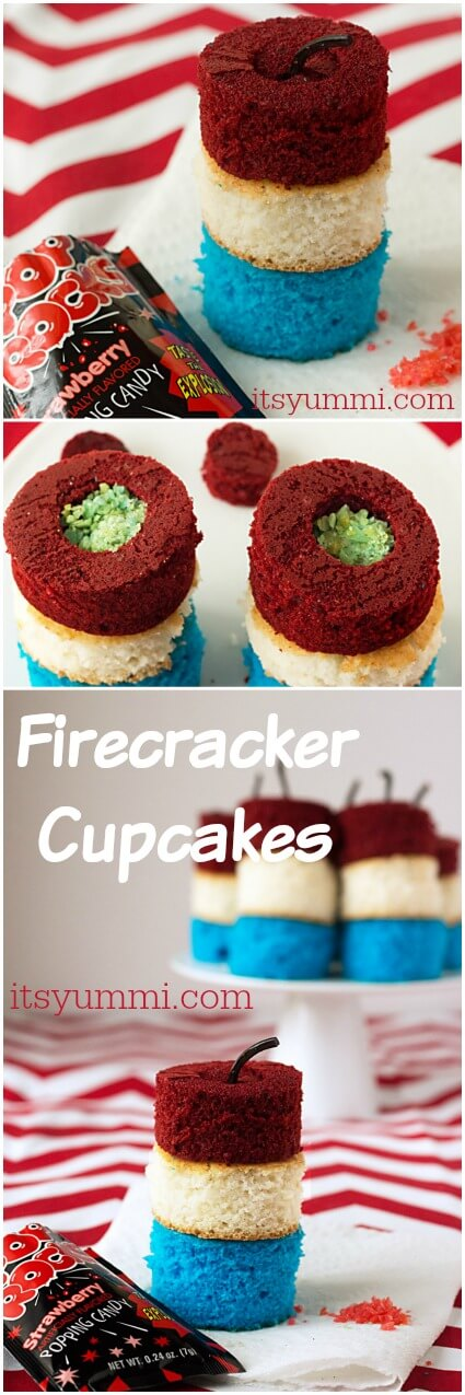 Patriotic recipes like these Firecracker Cupcakes from @itsyummi are SO cute! Cupcakes made with boxed cake mix are stuffed with Pop Rocks candy for an explosion of fun! | easy desserts