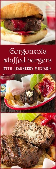 Gorgonzola Stuffed Burgers with Cranberry Mustard