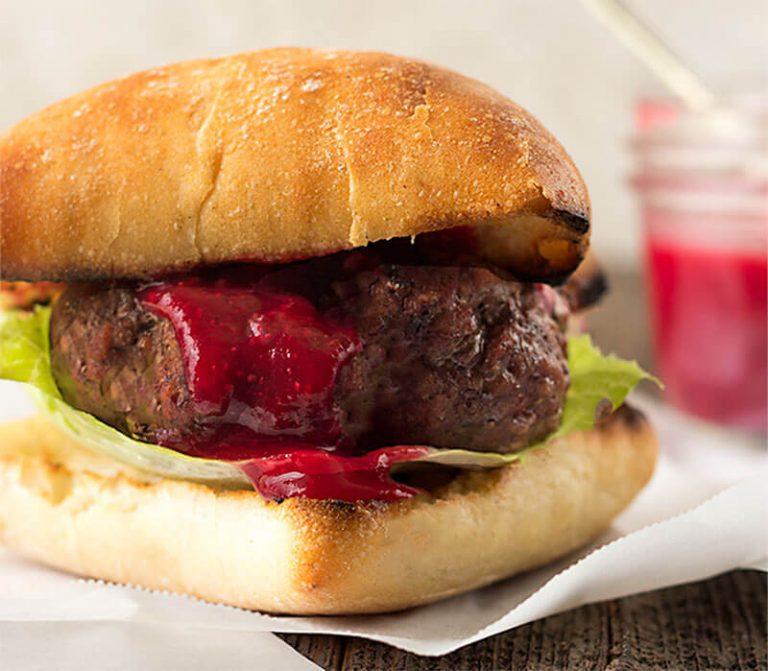 Gorgonzola Stuffed Burgers with Cranberry Mustard