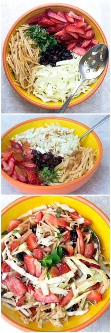 Homemade strawberry-apple coleslaw is a healthier coleslaw with apples, strawberries, cabbage and dried cherries. This strawberry-apple slaw has a sweet taste, without added sugar! The coleslaw dressing recipe has no mayo!