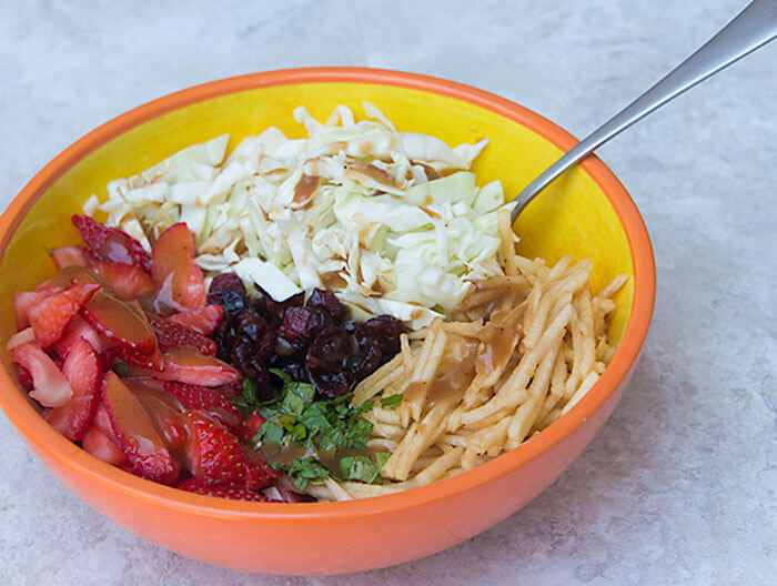 Healthier Homemade Strawberry-Apple Coleslaw, with a coleslaw dressing recipe that has no mayo!