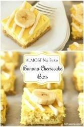 almost no bake lower sugar banana cheesecake bars