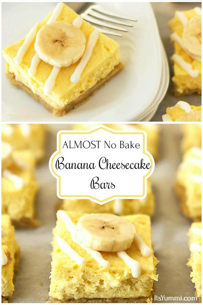 almost no bake lower sugar banana cheesecake bars